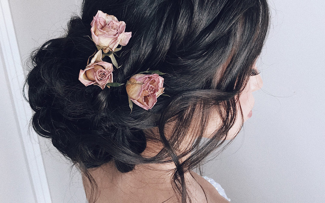 dried flowers in hair, hairstyles for brunettes, fishtail updo, fishtail upstyle, wedding hairstyle, black wedding hairstyle, romantic upstyle, long hairstyles
