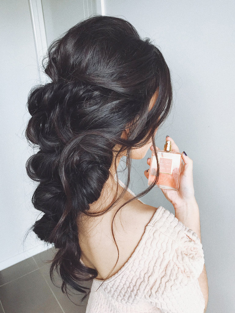 hairstyles for brunettes, braided updo, braided upstyle, wedding hairstyle, black wedding hairstyle, romantic upstyle, long hairstyles, half upstyle, braided hair up, coco chanel perfume and beautiful hair style