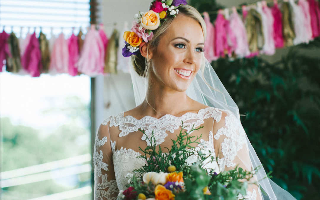 blonde bride, coolagatta wedding, bridal makeup, flower crown, bright and colourful flowers, smiling bride
