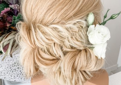 ulyana aster, wedding hair stylist, mannequin ally, fishtail braid, blonde, bride