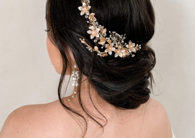 wedding hair gold coast upstyle featuring sweet v hair accesory on long brunette hair by Rachel Pivetta