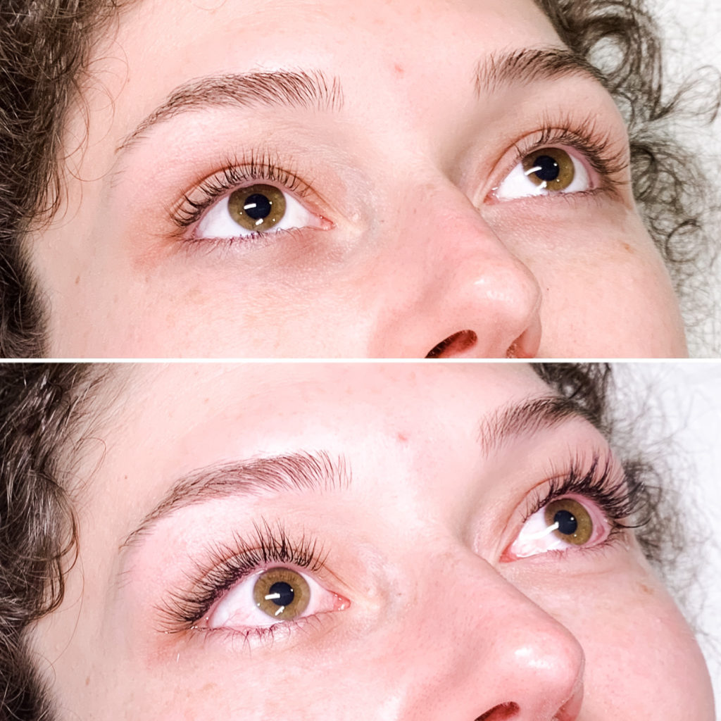 Before and after of classic eye lash extensions B curl cat eye style