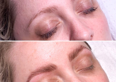 before and after brow lamination and design